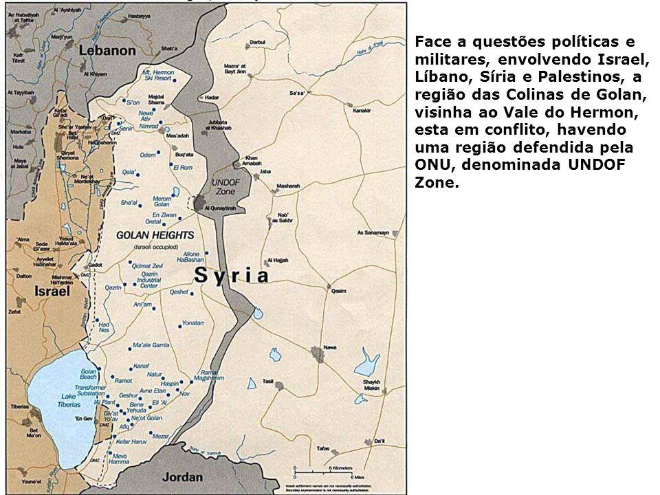 Face a questões políticas e militares, envolvendo Israel, Líbano, Síria e Palestinos, a região das Colinas de Golan, visinha ao Vale do Hermon, esta em conflito, havendo uma região defendida pela ONU, denominada UNDOF Zone.