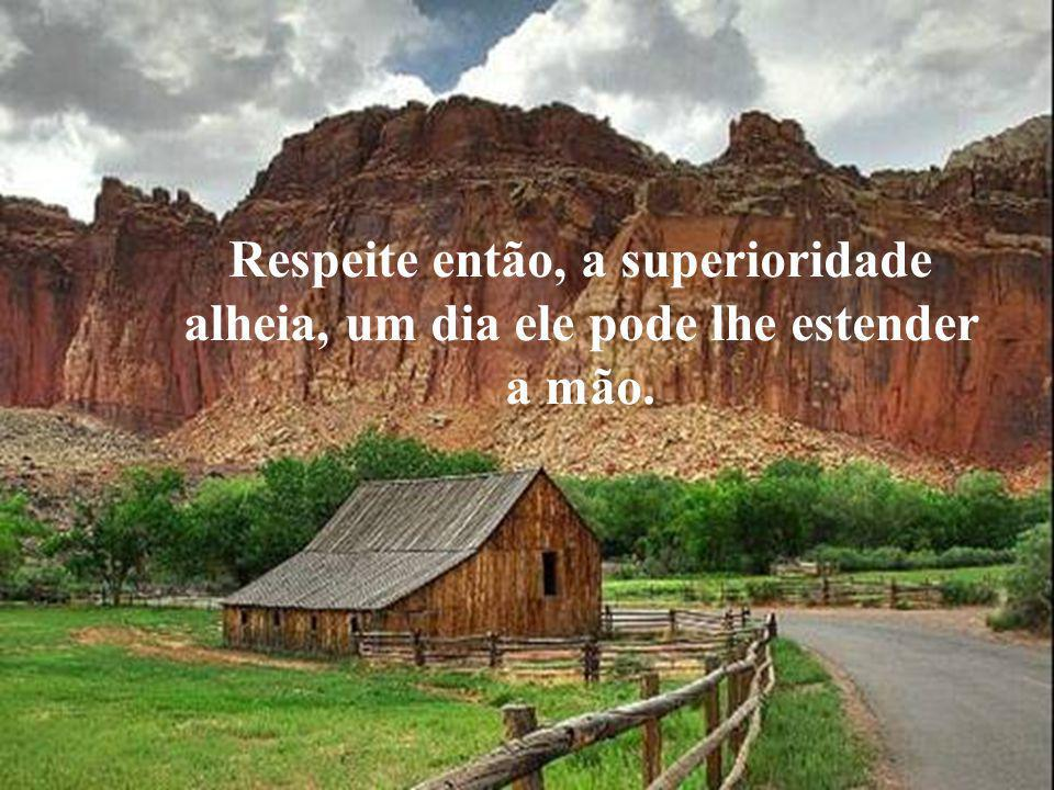 Respeite então, a superioridade alheia, um dia ele pode lhe estender a mão.