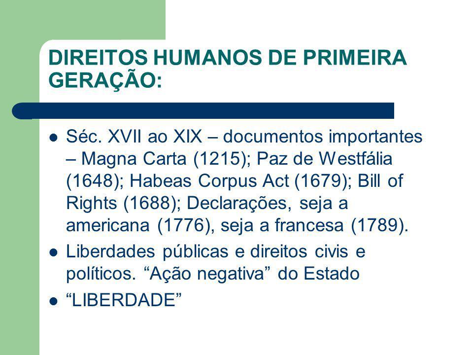 DIREITOS HUMANOS DE PRIMEIRA GERAÇÃO: