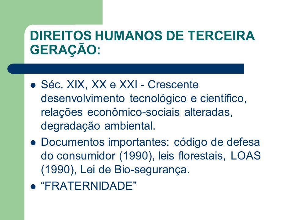 DIREITOS HUMANOS DE TERCEIRA GERAÇÃO: