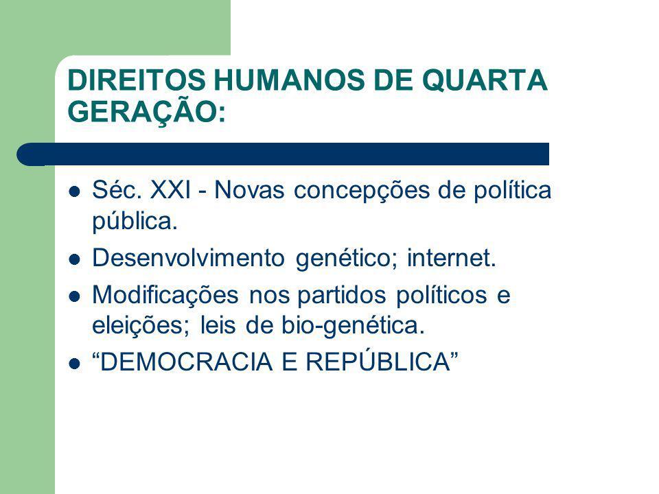 DIREITOS HUMANOS DE QUARTA GERAÇÃO: