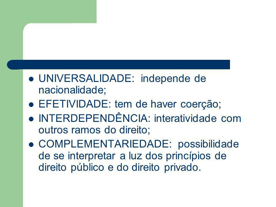 UNIVERSALIDADE: independe de nacionalidade;