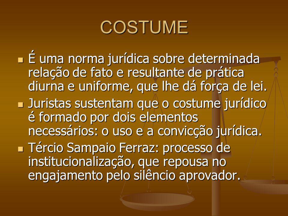 COSTUME É uma norma jurídica sobre determinada relação de fato e resultante de prática diurna e uniforme, que lhe dá força de lei.