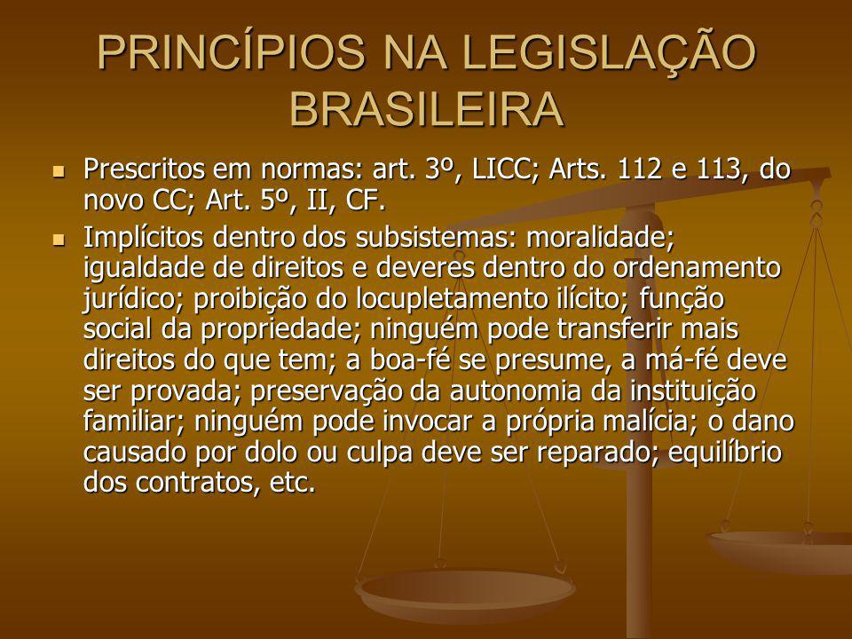 PRINCÍPIOS NA LEGISLAÇÃO BRASILEIRA