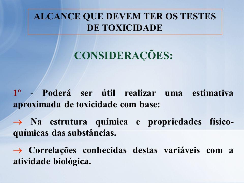 ALCANCE QUE DEVEM TER OS TESTES DE TOXICIDADE