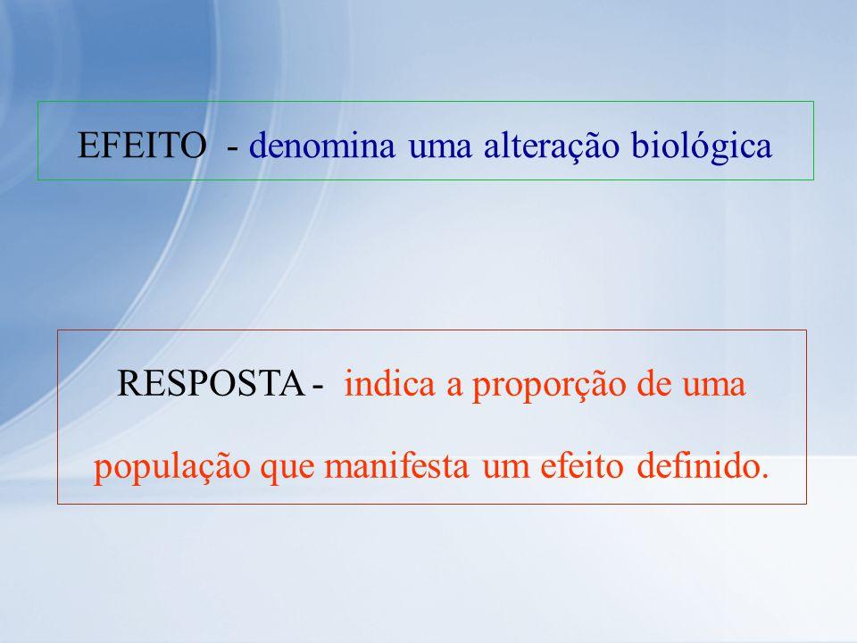 EFEITO - denomina uma alteração biológica