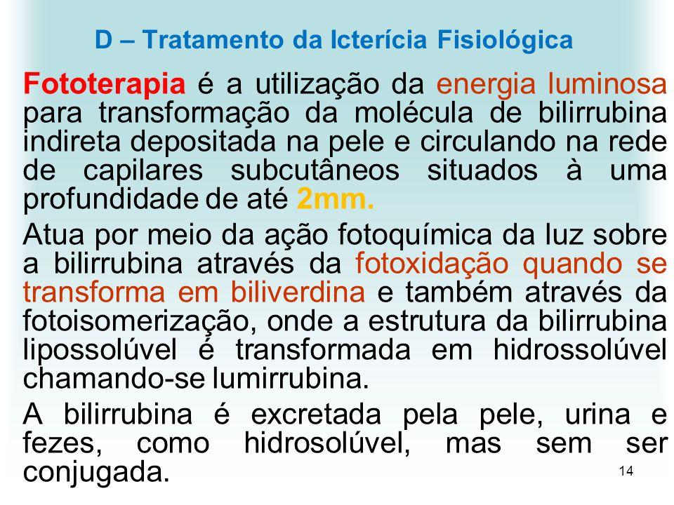 D – Tratamento da Icterícia Fisiológica