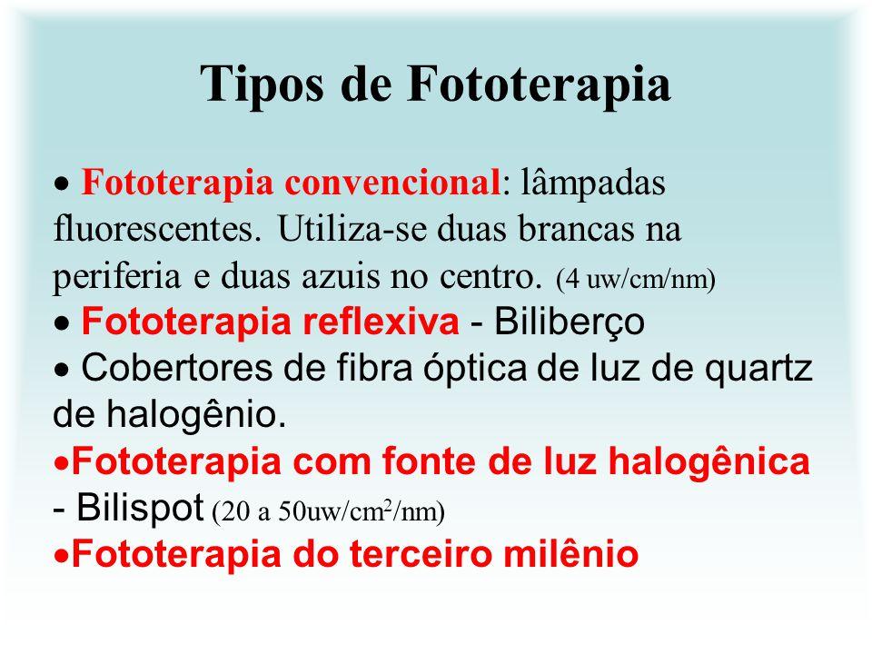Tipos de Fototerapia  Fototerapia convencional: lâmpadas fluorescentes. Utiliza-se duas brancas na periferia e duas azuis no centro. (4 uw/cm/nm)