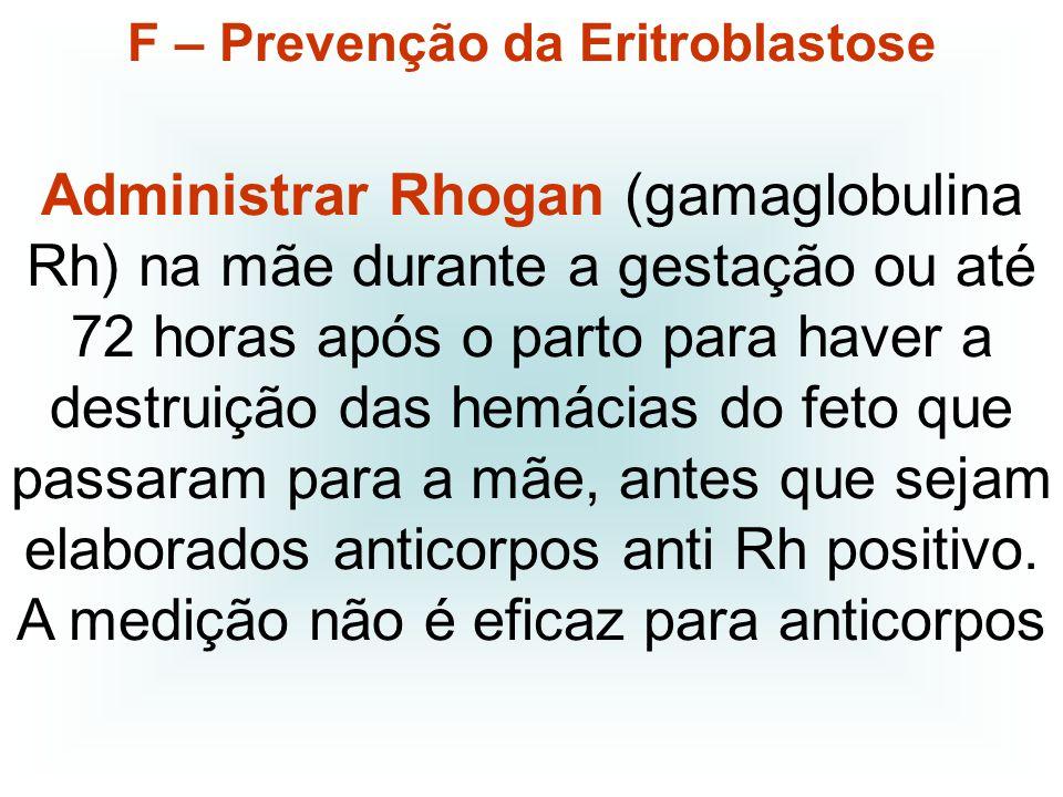 F – Prevenção da Eritroblastose