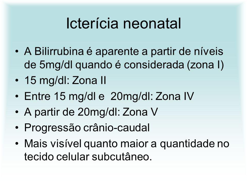 Icterícia neonatal A Bilirrubina é aparente a partir de níveis de 5mg/dl quando é considerada (zona I)