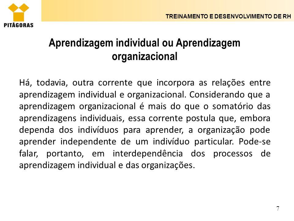 Aprendizagem individual ou Aprendizagem organizacional