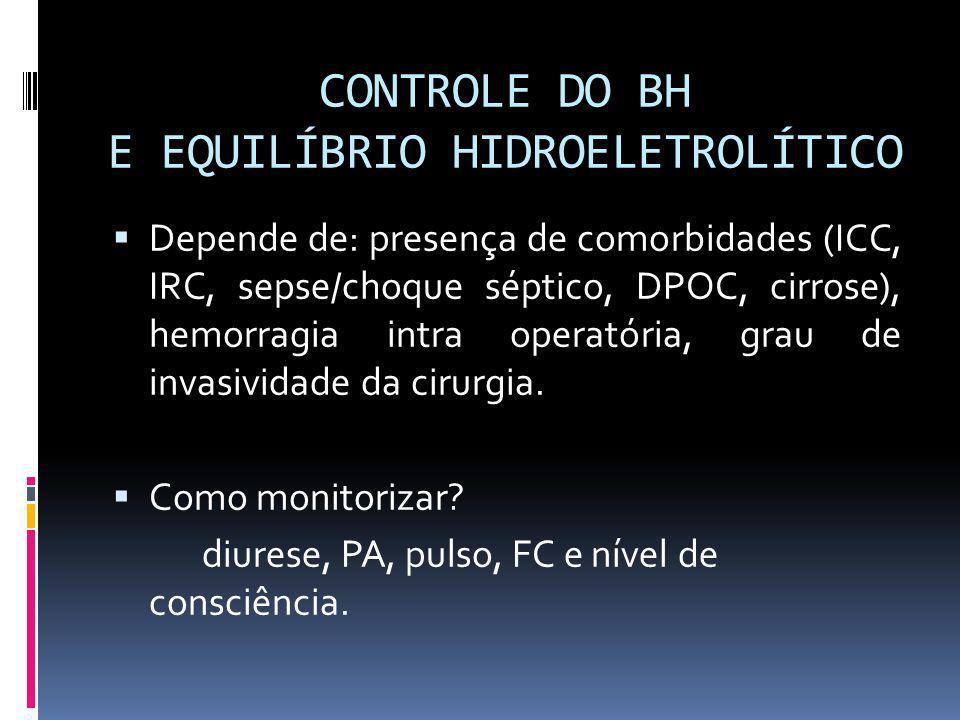 CONTROLE DO BH E EQUILÍBRIO HIDROELETROLÍTICO