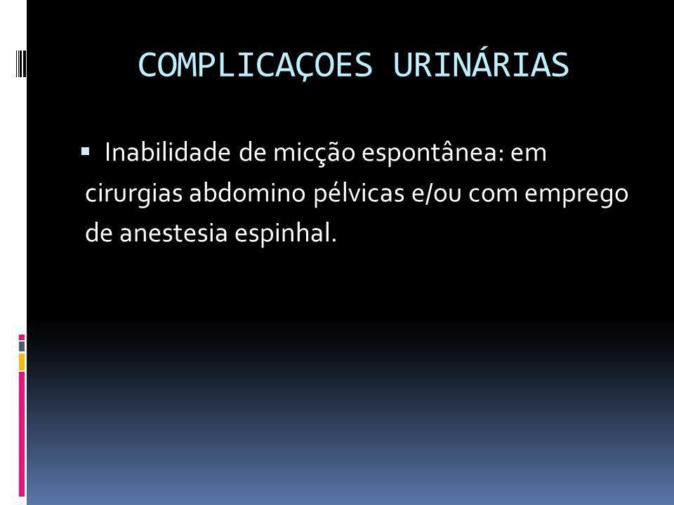 COMPLICAÇOES URINÁRIAS