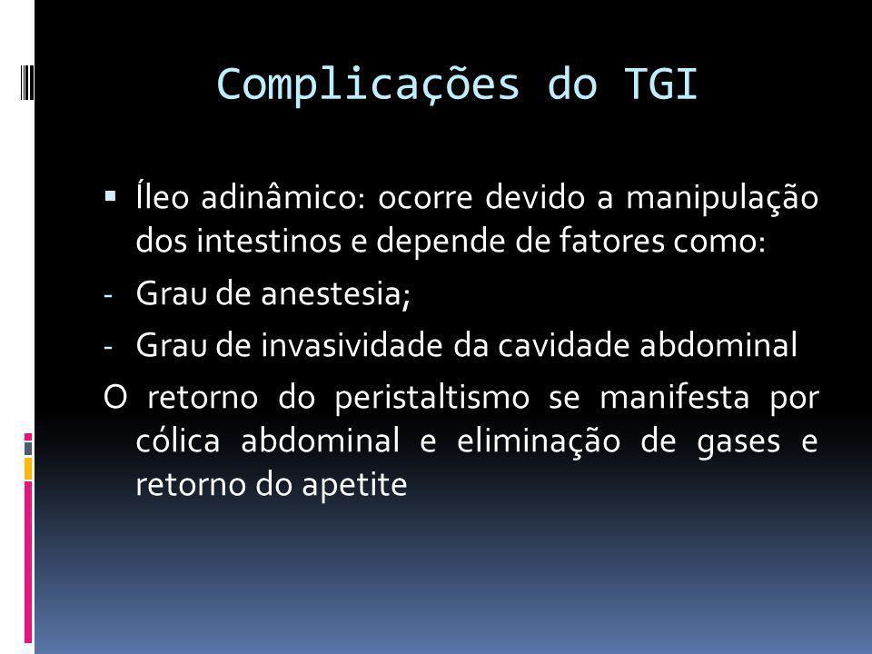 Complicações do TGI Íleo adinâmico: ocorre devido a manipulação dos intestinos e depende de fatores como: