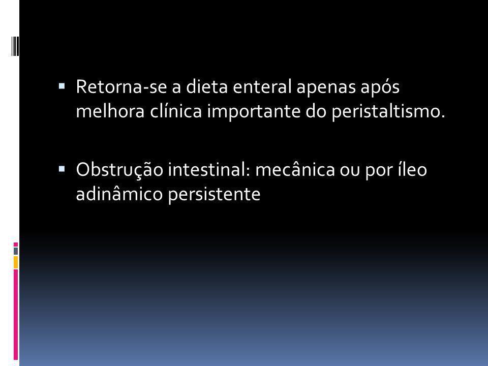 Retorna-se a dieta enteral apenas após melhora clínica importante do peristaltismo.