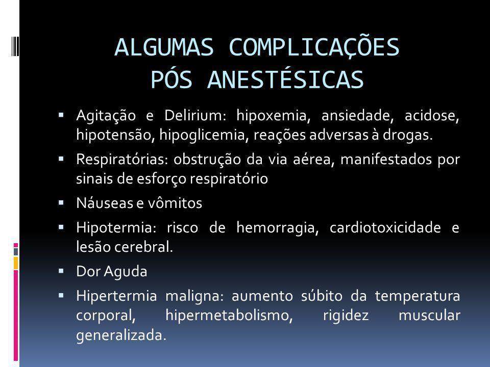 ALGUMAS COMPLICAÇÕES PÓS ANESTÉSICAS