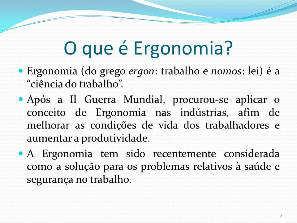 O que é Ergonomia Ergonomia (do grego ergon: trabalho e nomos: lei) é a ciência do trabalho .