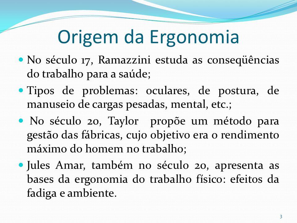 Origem da Ergonomia No século 17, Ramazzini estuda as conseqüências do trabalho para a saúde;