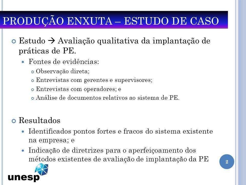 PRODUÇÃO ENXUTA – ESTUDO DE CASO