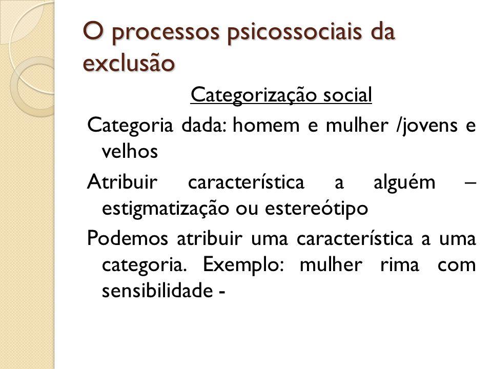 O processos psicossociais da exclusão