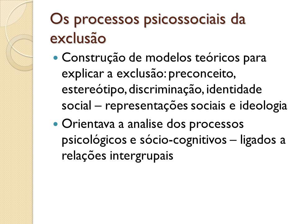 Os processos psicossociais da exclusão