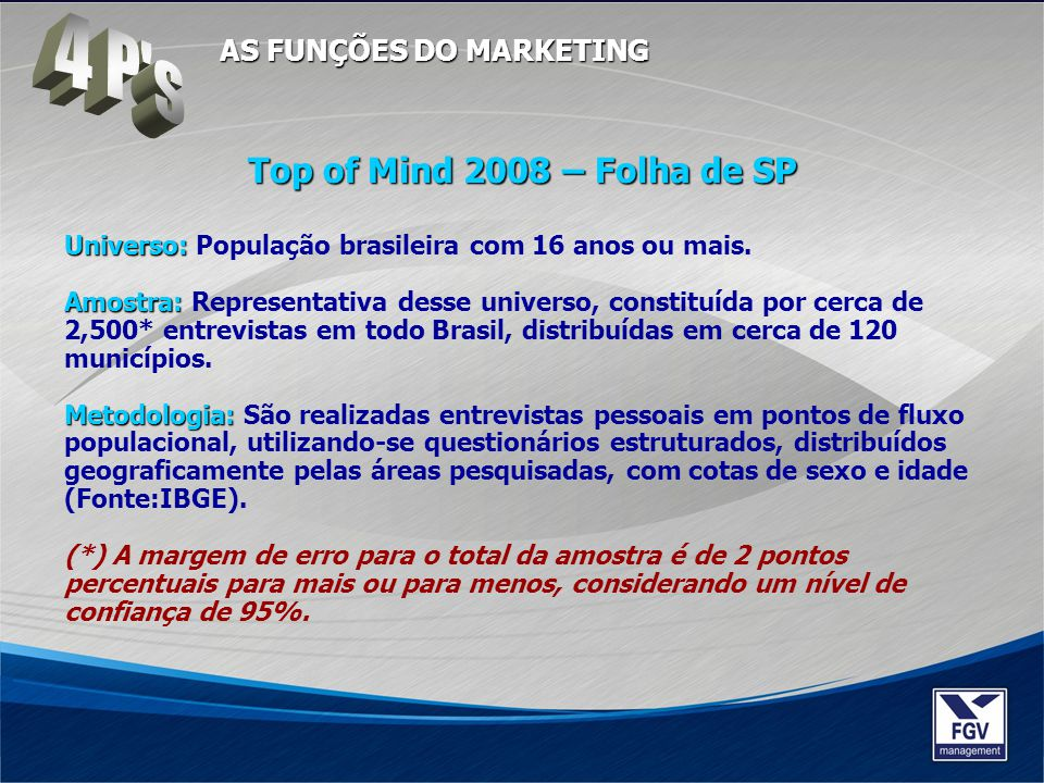 4 P s Top of Mind 2008 – Folha de SP AS FUNÇÕES DO MARKETING