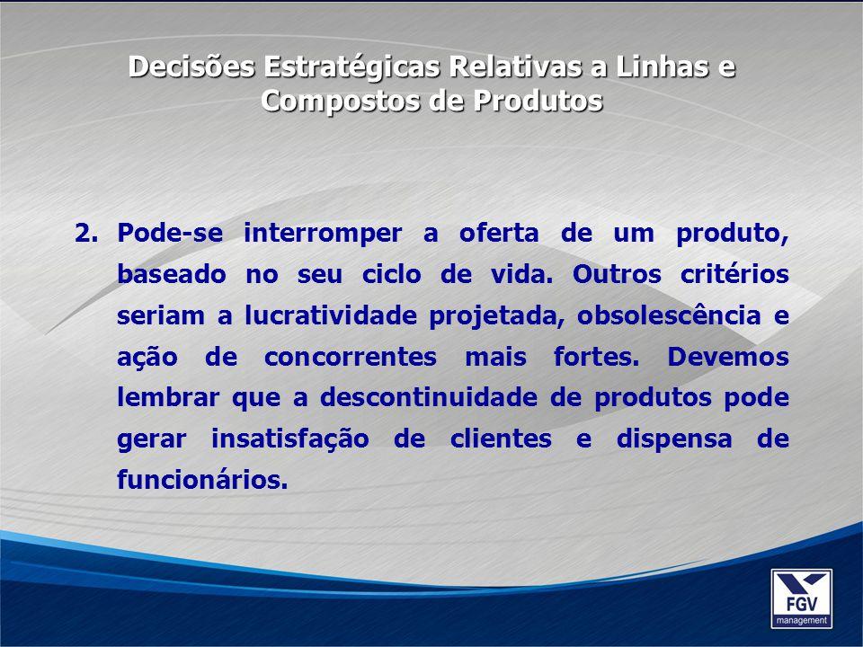 Decisões Estratégicas Relativas a Linhas e Compostos de Produtos