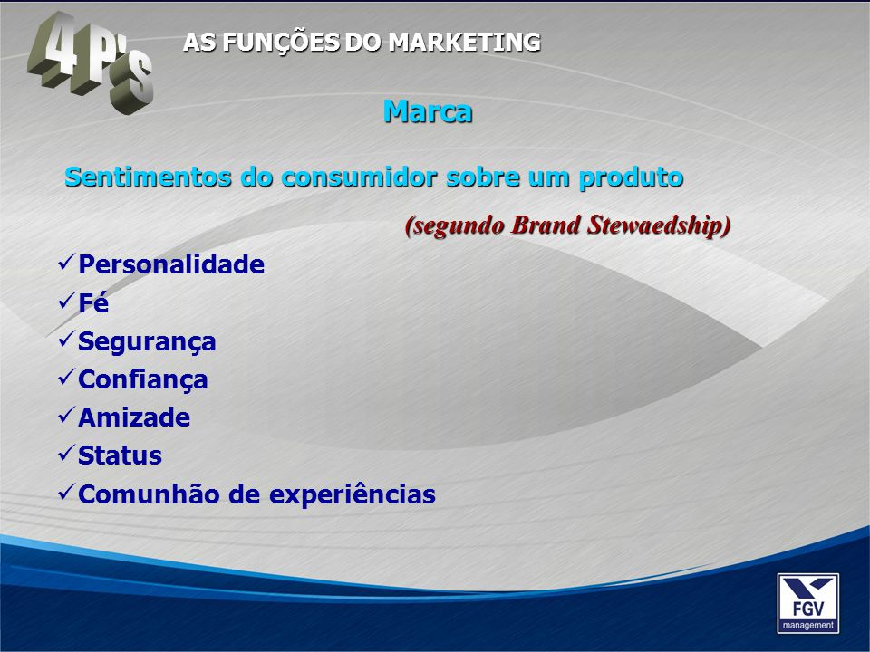 4 P s AS FUNÇÕES DO MARKETING. Marca. Sentimentos do consumidor sobre um produto (segundo Brand Stewaedship)