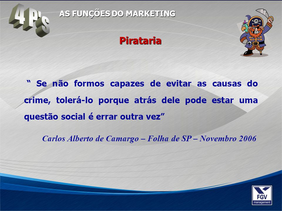4 P s AS FUNÇÕES DO MARKETING. Pirataria.