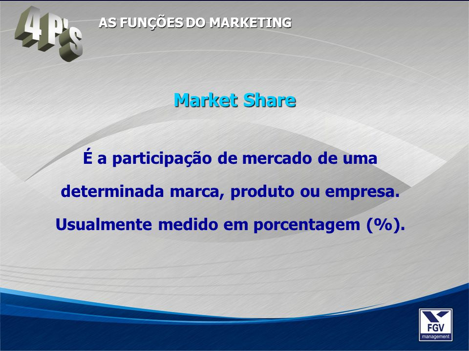 4 P s AS FUNÇÕES DO MARKETING. Market Share.