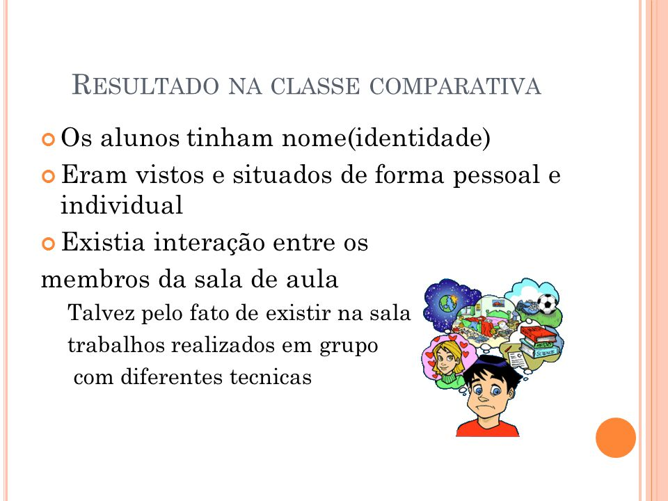 Resultado na classe comparativa