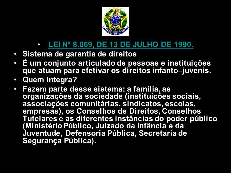 LEI Nº 8.069, DE 13 DE JULHO DE 1990. Sistema de garantia de direitos.