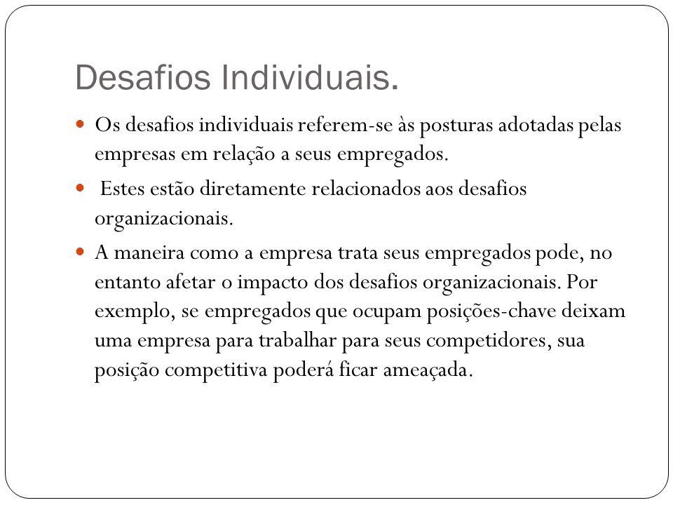 Desafios Individuais. Os desafios individuais referem-se às posturas adotadas pelas empresas em relação a seus empregados.
