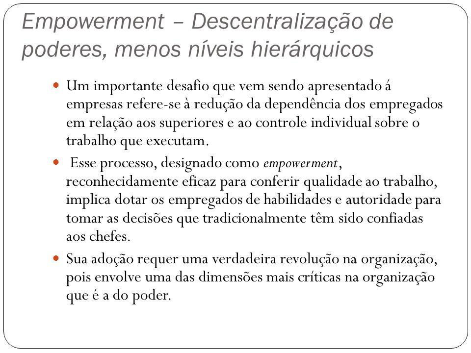 Empowerment – Descentralização de poderes, menos níveis hierárquicos