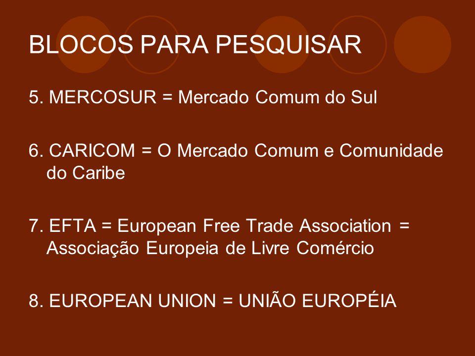 BLOCOS PARA PESQUISAR 5. MERCOSUR = Mercado Comum do Sul