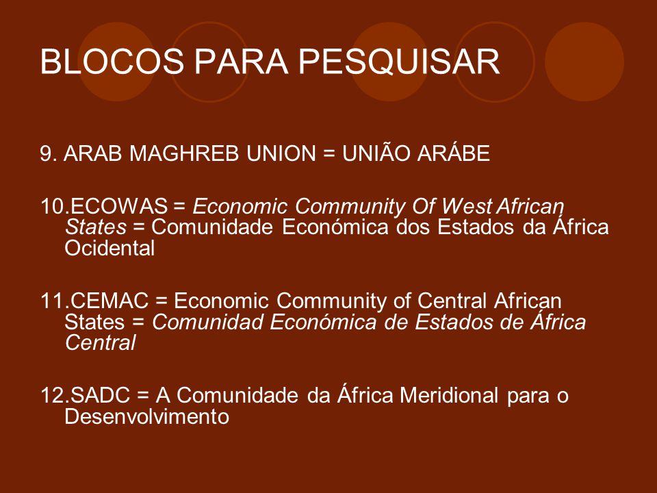 BLOCOS PARA PESQUISAR 9. ARAB MAGHREB UNION = UNIÃO ARÁBE