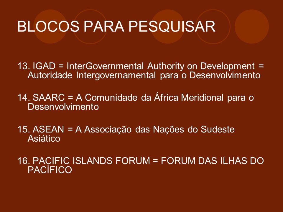 BLOCOS PARA PESQUISAR 13. IGAD = InterGovernmental Authority on Development = Autoridade Intergovernamental para o Desenvolvimento.