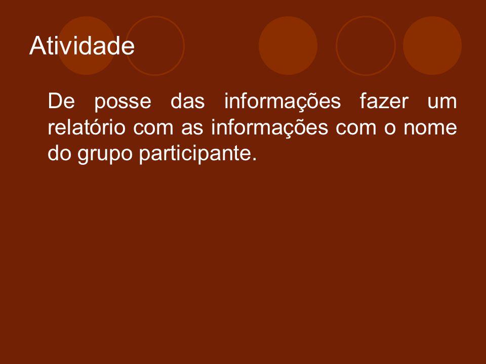 Atividade De posse das informações fazer um relatório com as informações com o nome do grupo participante.