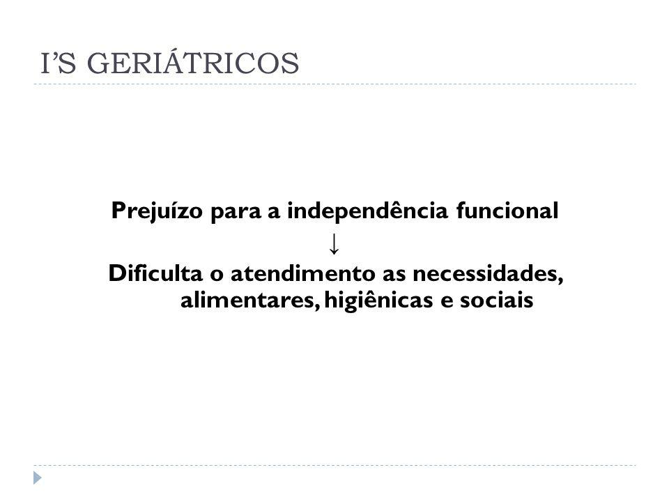I'S GERIÁTRICOS Prejuízo para a independência funcional ↓ Dificulta o atendimento as necessidades, alimentares, higiênicas e sociais