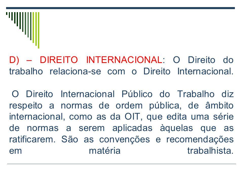 D) – DIREITO INTERNACIONAL: O Direito do trabalho relaciona-se com o Direito Internacional.