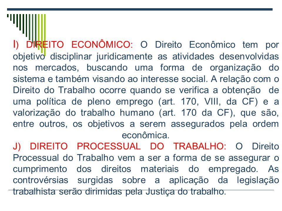 I) DIREITO ECONÔMICO: O Direito Econômico tem por objetivo disciplinar juridicamente as atividades desenvolvidas nos mercados, buscando uma forma de organização do sistema e também visando ao interesse social.