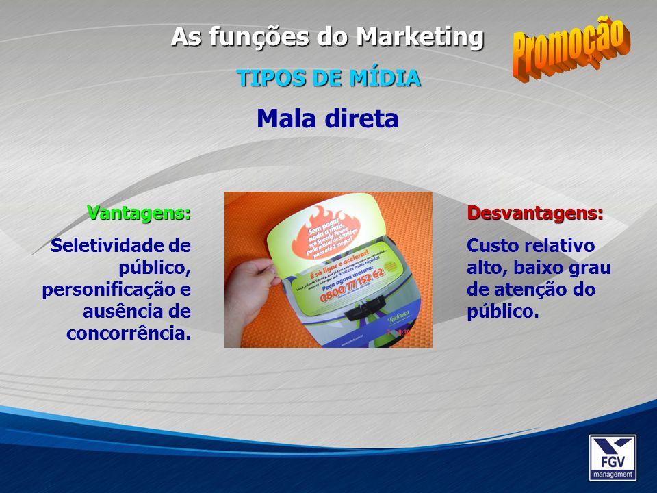 Promoção As funções do Marketing Mala direta TIPOS DE MÍDIA Vantagens:
