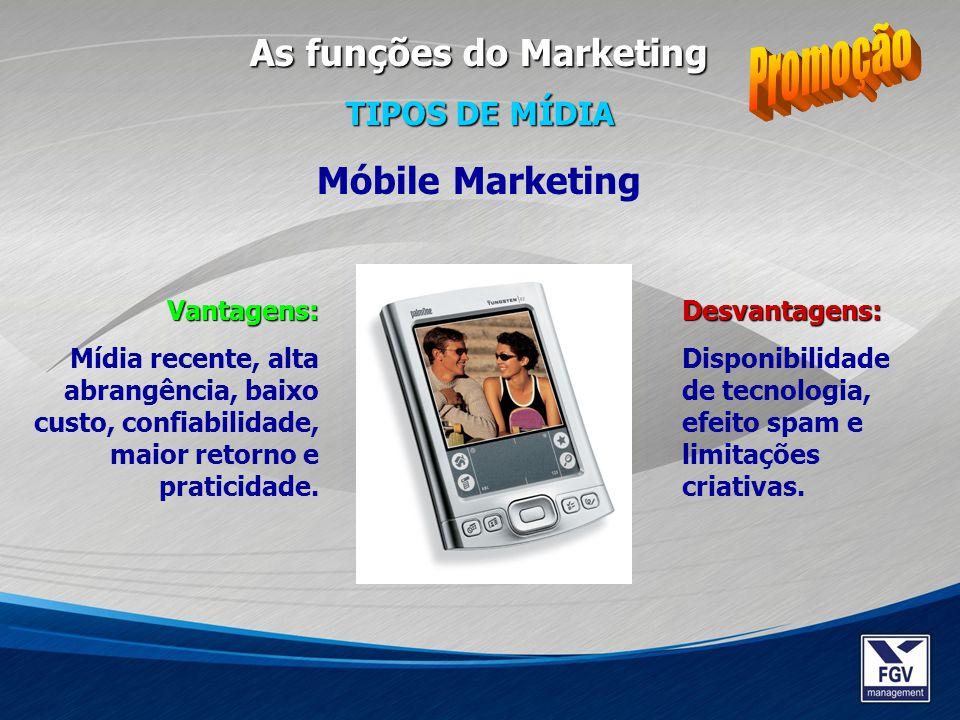 Promoção As funções do Marketing Móbile Marketing TIPOS DE MÍDIA