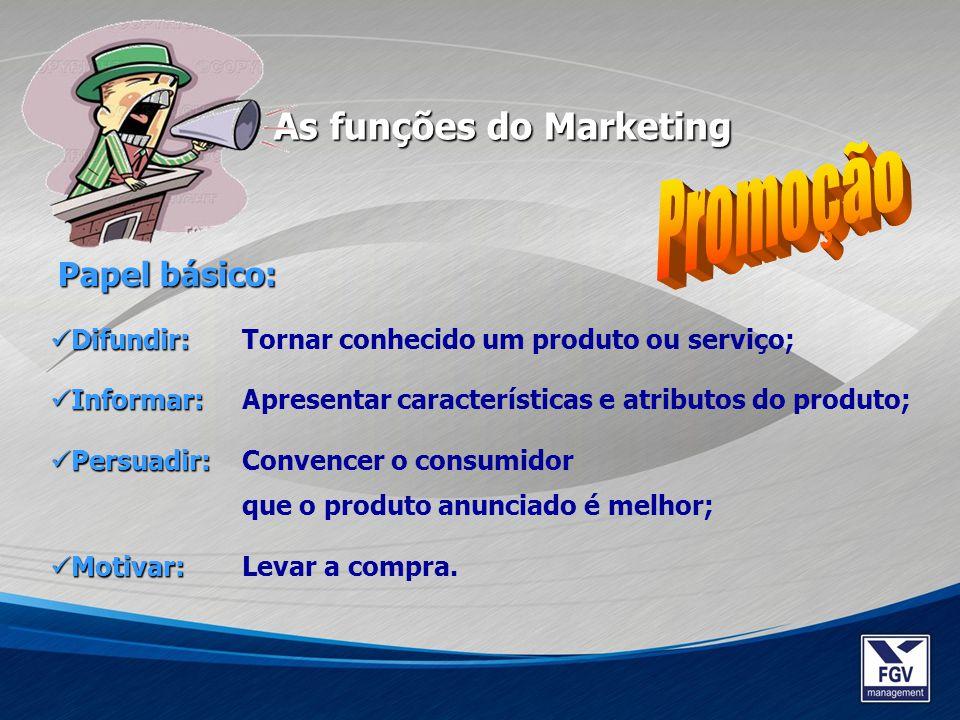 Promoção As funções do Marketing Papel básico: