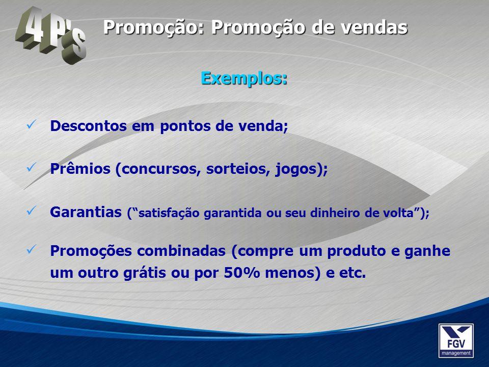 4 P s Promoção: Promoção de vendas Exemplos: