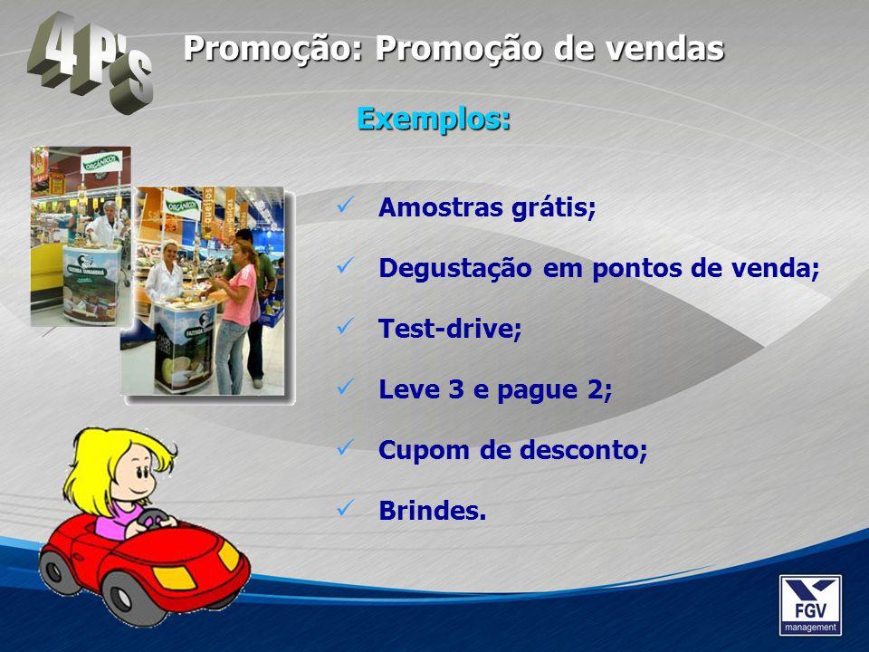4 P s Promoção: Promoção de vendas Exemplos: Amostras grátis;