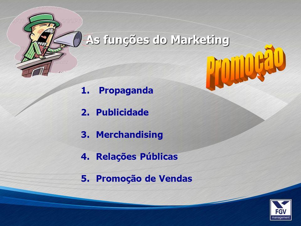 Promoção As funções do Marketing Propaganda Publicidade Merchandising