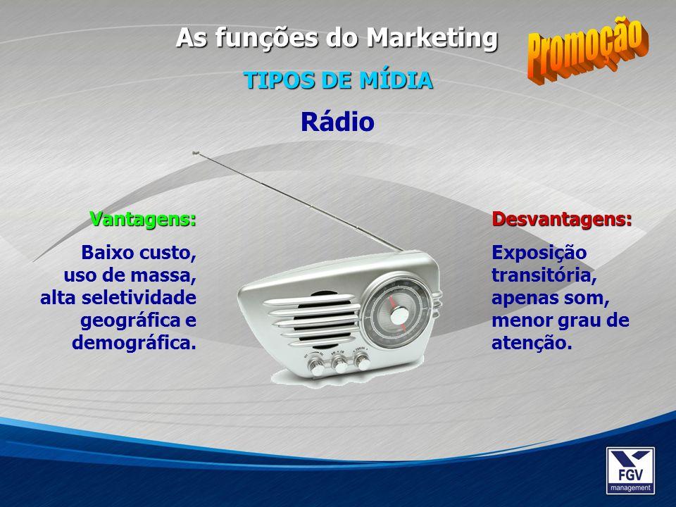 Promoção As funções do Marketing Rádio TIPOS DE MÍDIA Vantagens: