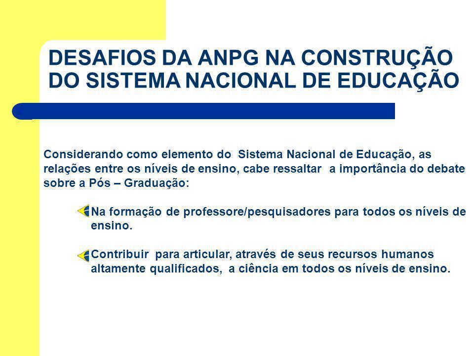 DESAFIOS DA ANPG NA CONSTRUÇÃO DO SISTEMA NACIONAL DE EDUCAÇÃO