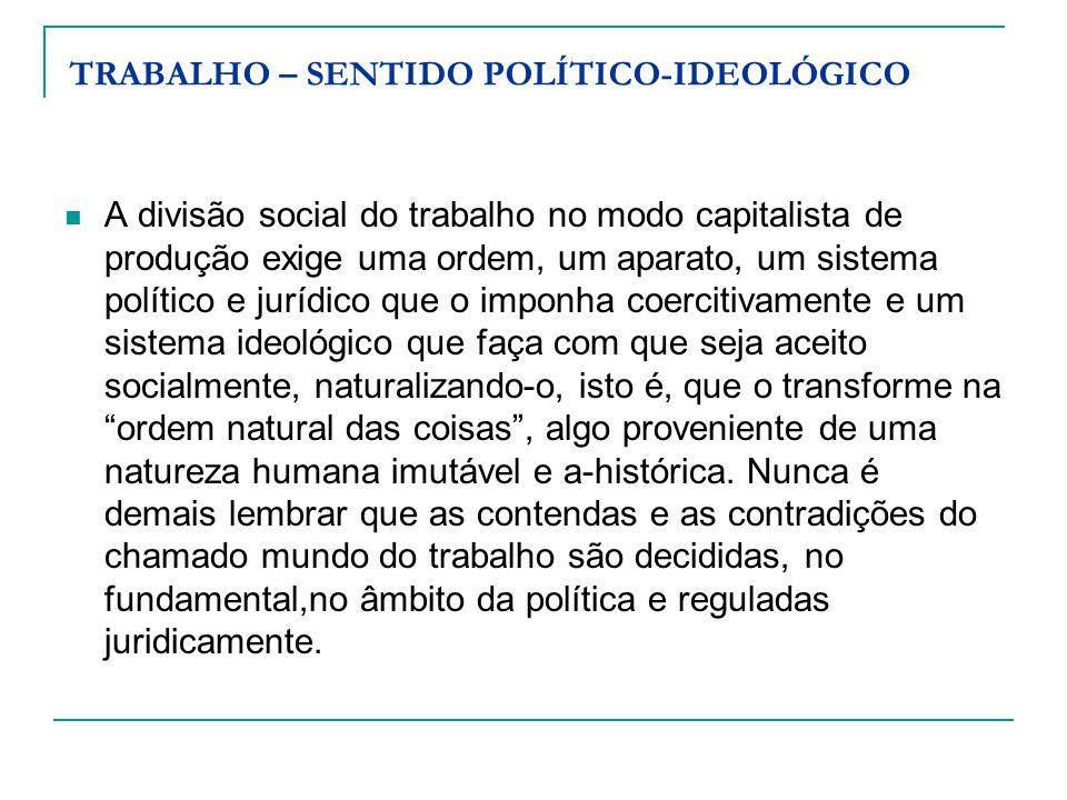 TRABALHO – SENTIDO POLÍTICO-IDEOLÓGICO